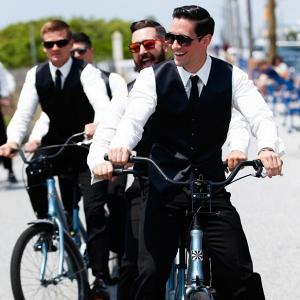 Groomsmen on bikes