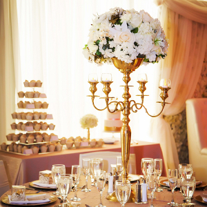 Glamorous candelabra centerpiece