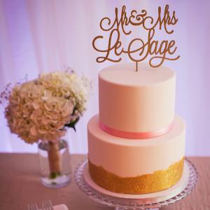 Simple metallic wedding cake