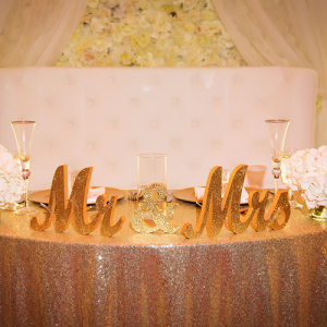 Glamorous wedding sweetheart table