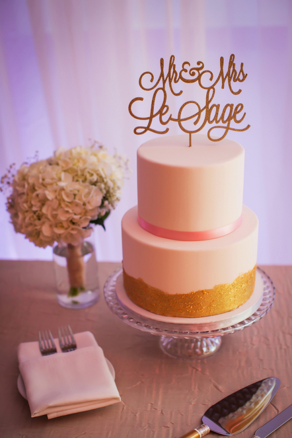 Simple metallic wedding cake