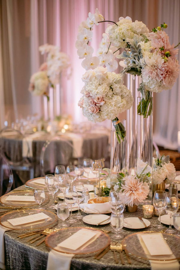 Blush dahlia centerpiece