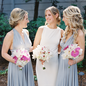 Long periwinkle bridesmaid dresses