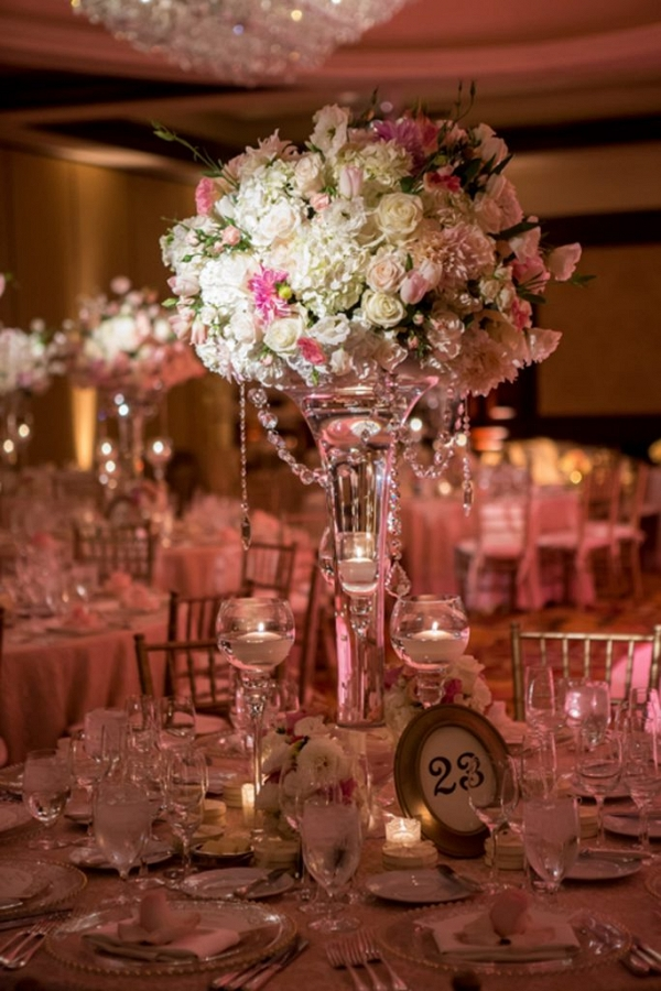 Glamorous pink wedding reception