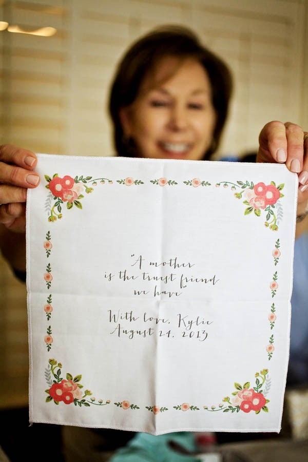 """""""A mother is the truest friend we have"""" - custom handkerchief as a wedding day gift to the mother of the bride"""