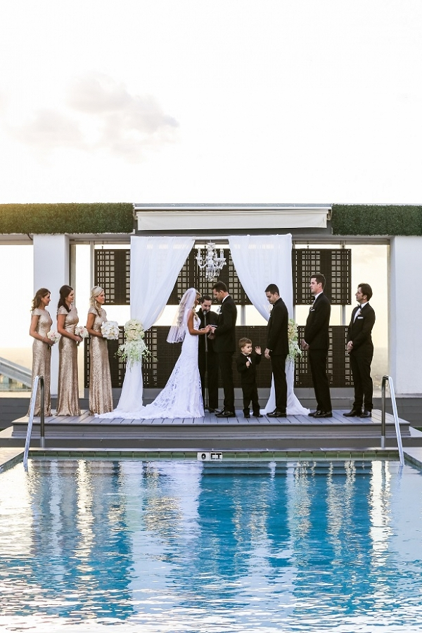 Glamorous poolside wedding ceremony at the Viceroy Miami, FL
