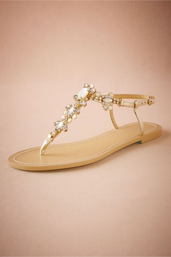 55c1d10dfe45 Gold Jeweled Sandals - Aisle Society