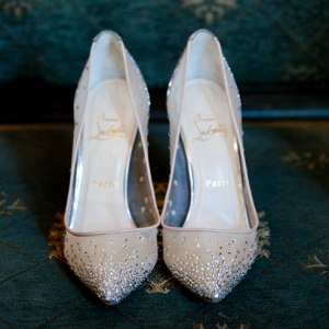Follies Strass Louboutin wedding shoes made with neutral mesh embellished with a sparkling gradient of hand-placed crystals and complemented with a glistening 100mm 'glitter solaria' heel