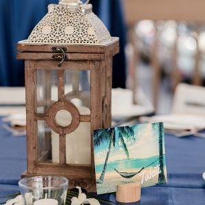 Lantern and postcard centerpiece