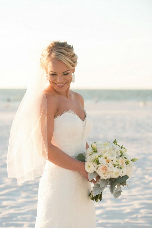Beach wedding bridal style