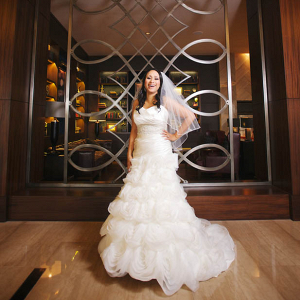 Glamorous wedding dress with a ruffles