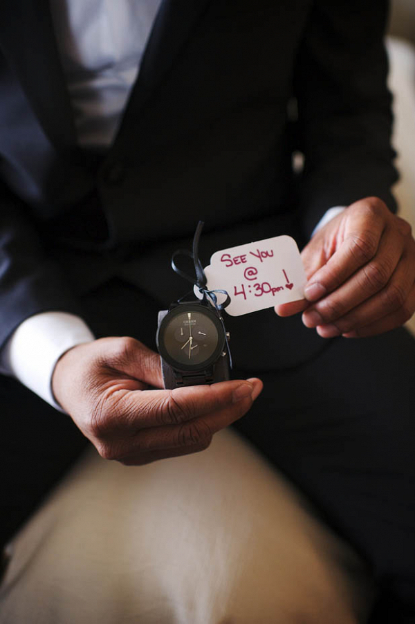 Love this wedding gift idea for the groom: a watch with a note on it!