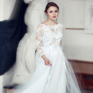 Lace and Tulle Long Sleeved Wedding Dress Etsy