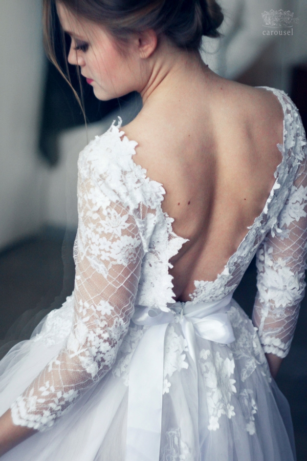 Lace and Tulle Long Sleeved Wedding Dress