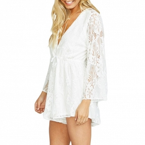 Boho Long Sleeve Lace Romper