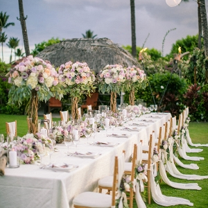 Tropical outdoor wedding reception