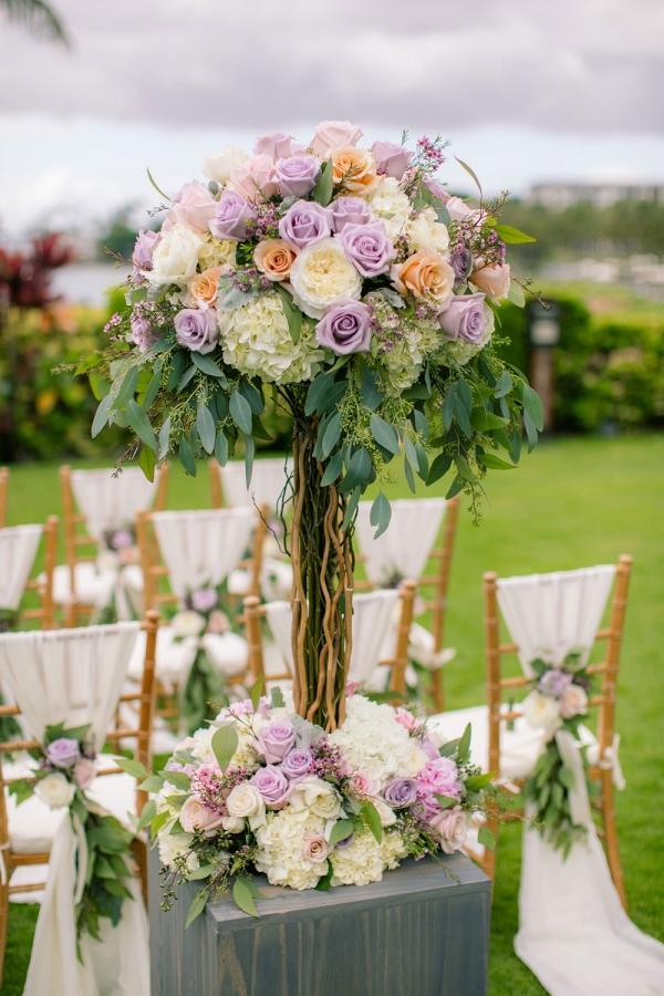 Luxurious pastel ceremony arrangement