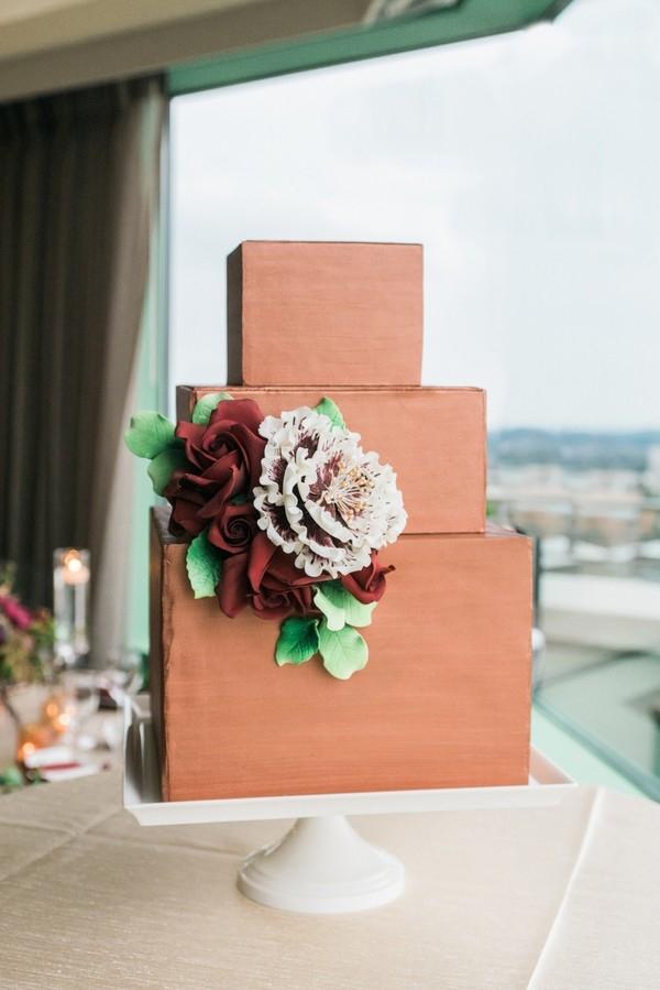 Three tier copper wedding cake