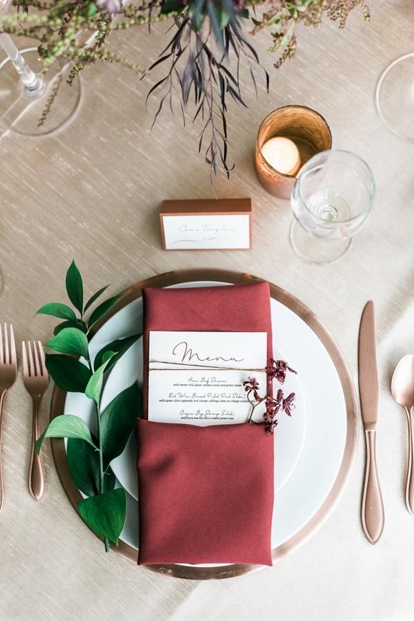 Marsala napkin and copper place setting