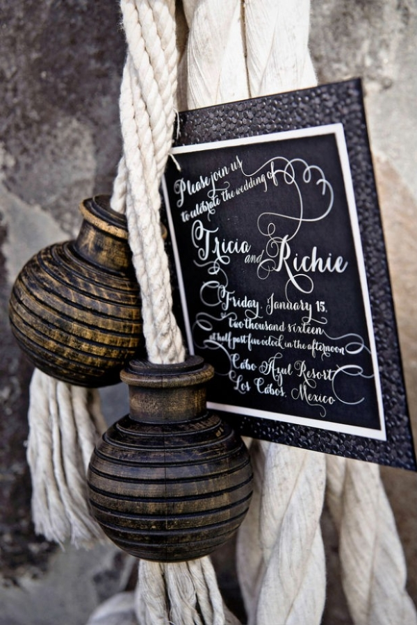 Modern textured black wedding invitation with nautical accents