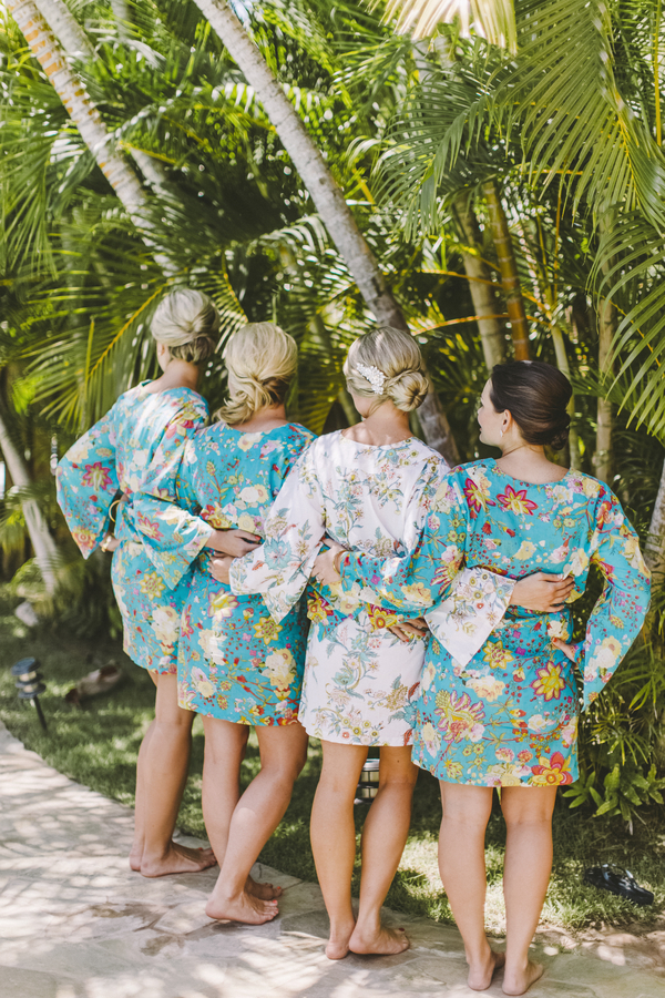 Tropical getting ready robes for the bride and bridesmaids - perfect for a destination wedding on Maui!