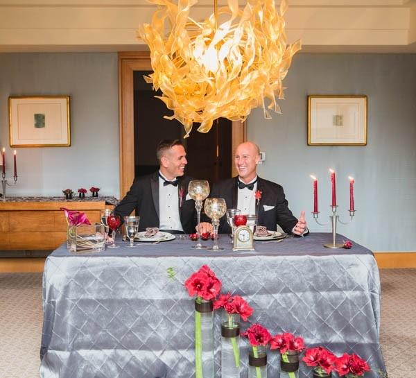 Modern hotel suite elopement dinner