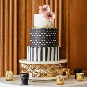 Bow tie polka dot and striped modern wedding cake