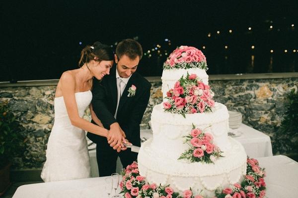 Oversized floral wedding cake