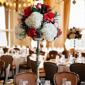 Tall silver wedding centerpiece