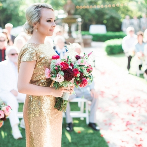 Gold glitter bridesmaid dresses