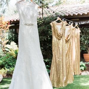 Gold glitter bridesmaid dresses