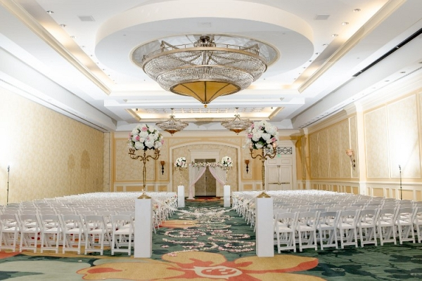 Luxury ballroom wedding ceremony