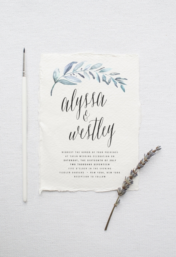 Organic Watercolor Wedding Invitation