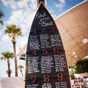 Surfboard seating chart with chalkboard background and wooden numbers