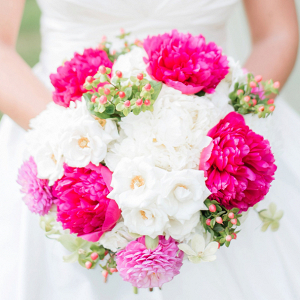 Hot pink wedding bouquet