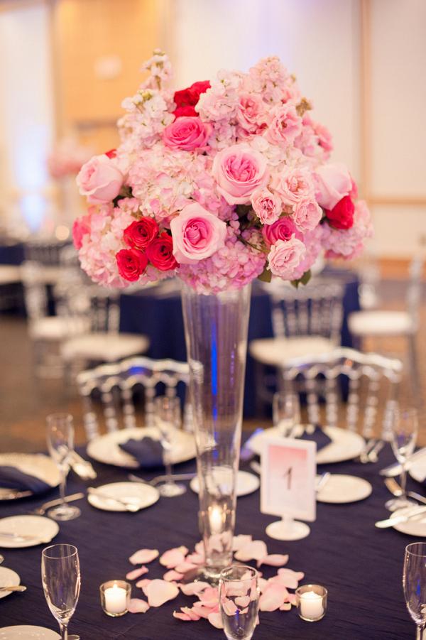 Tall pink wedding centerpieces