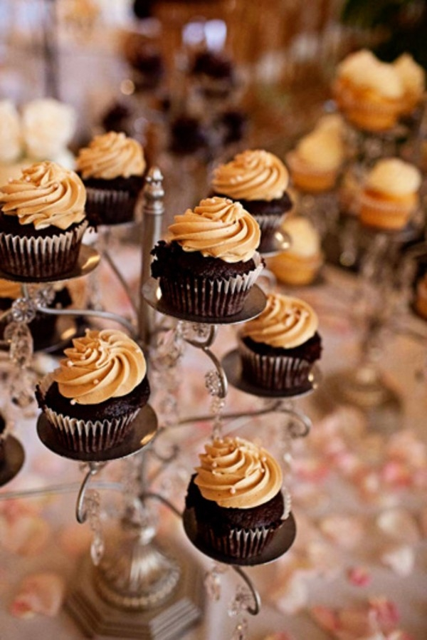 Tower of chocolate cupcakes