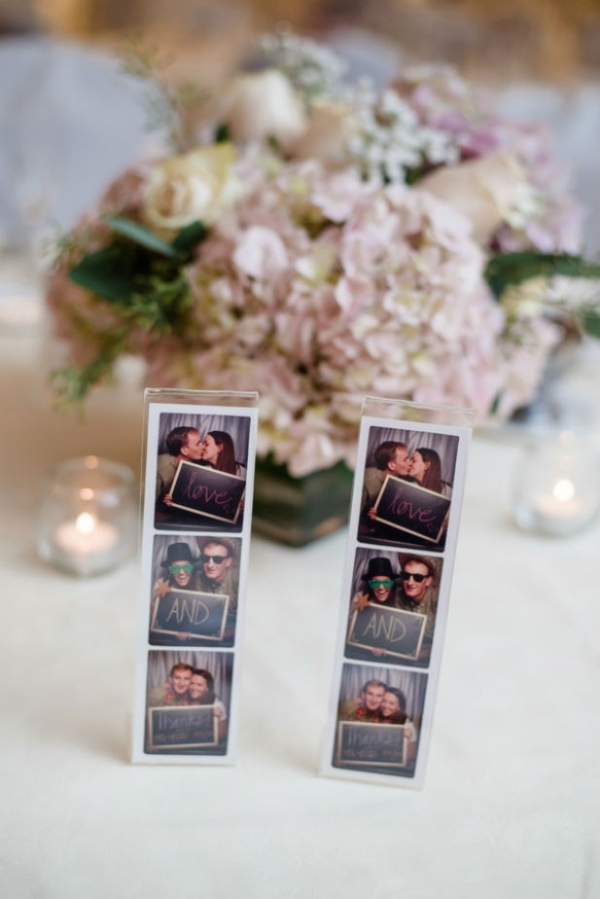 Photo booth photos as thank you notes for the wedding reception tables