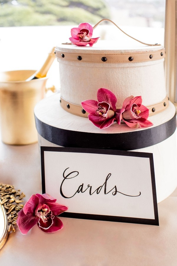 Circular card box with calligraphied sign