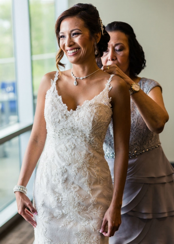 Lace and beaded wedding dress