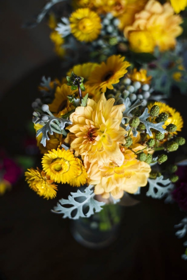 Pretty bright yellow wedding bouquet