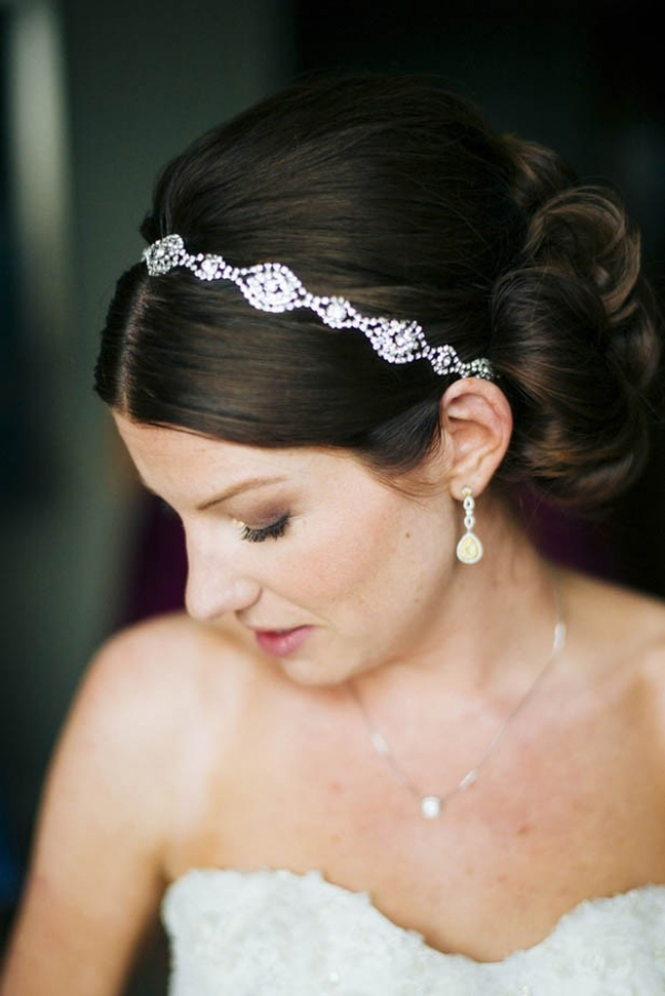 Classic bride with updo and sparkly headband