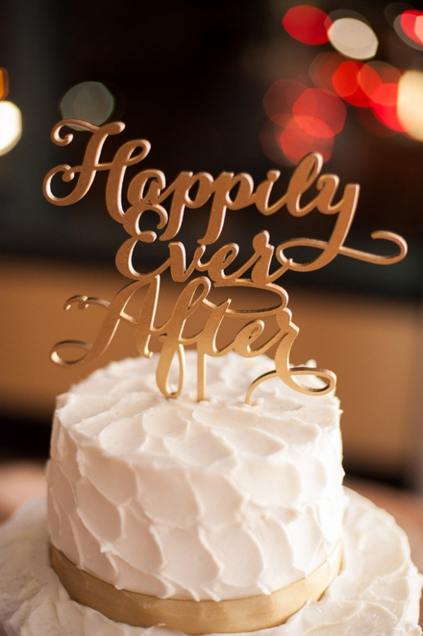 """""""Happily ever after"""" gold script wedding cake topper"""