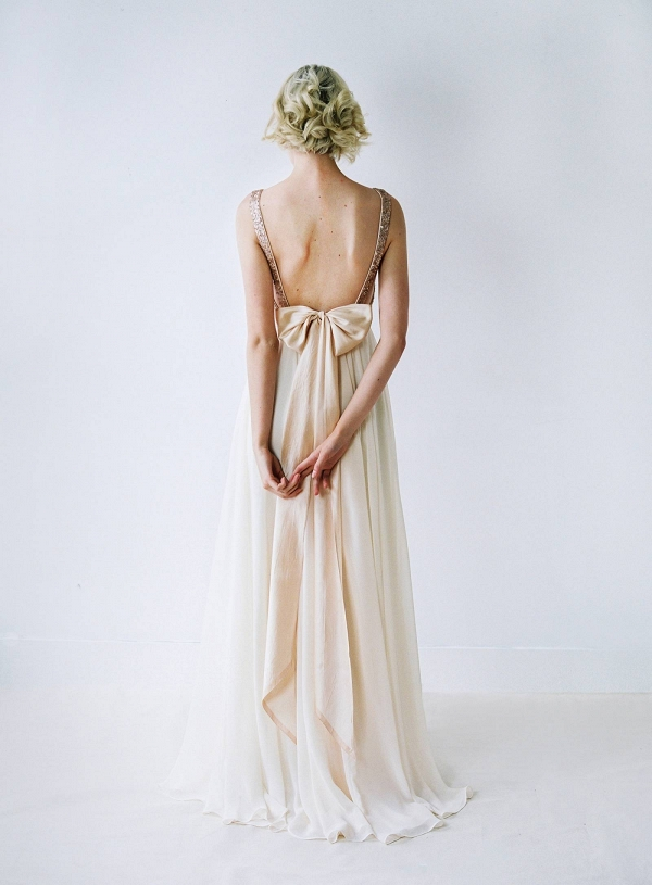 truvelle rose gold sequin wedding dress with bow