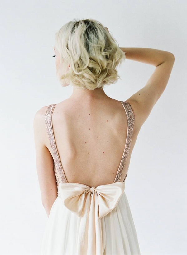 rose gold sequin wedding dress with bow