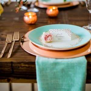 Romantic, vintage inspired place setting with turquoise and rose gold details