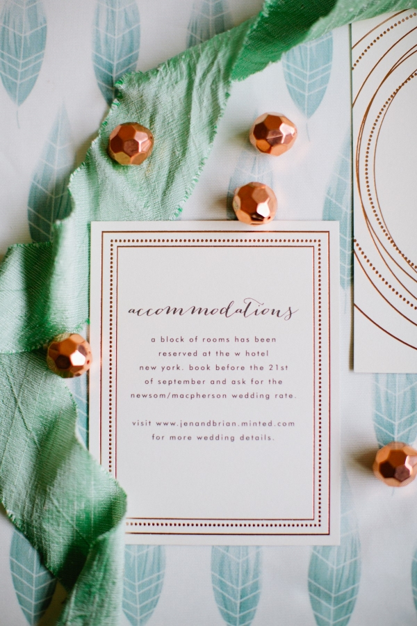 Adorable rose gold accommodations card by Minted