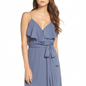 Ruffle V-Neck Bridesmaid Dress