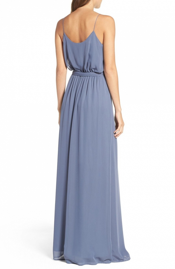 Ruffle V-Neck Bridesmaid Dress Amsale