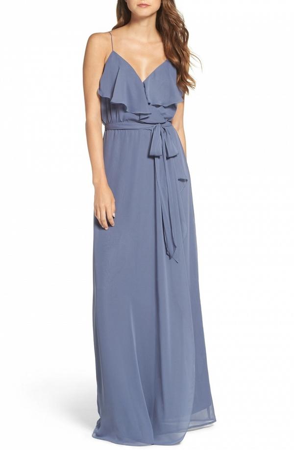 Ruffle V-Neck Bridesmaid Dress